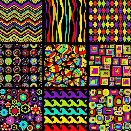 funky flower designs - Vector set of stylish seamless patterns. Stock Photo - Budget Royalty-Free & Subscription, Code: 400-05709813