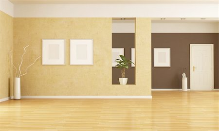 empty home entrance and living room - rendering Stock Photo - Budget Royalty-Free & Subscription, Code: 400-05700728