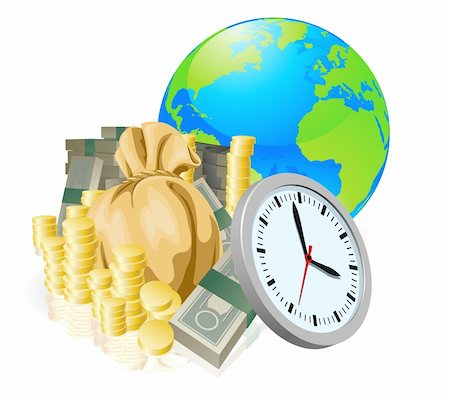 World globe money time business concept. Time is money, international business concept. Stock Photo - Budget Royalty-Free & Subscription, Code: 400-05701017