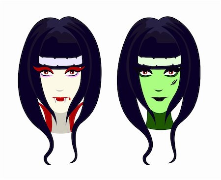 Vector characters for Halloween, funny vampire and green zombie girl Stock Photo - Budget Royalty-Free & Subscription, Code: 400-05701076
