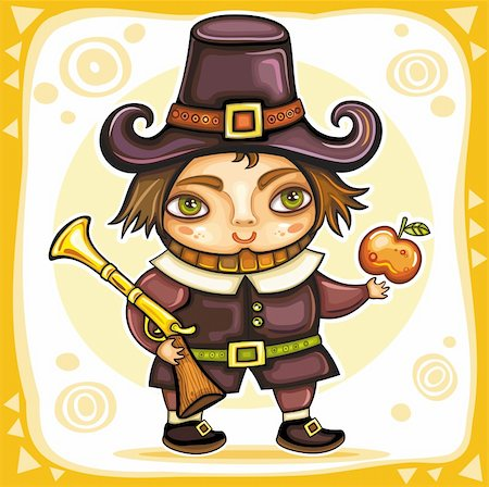 Thanksgiving happy cartoon pilgrim man with blunderbuss. Thanksgiving series 2 Stock Photo - Budget Royalty-Free & Subscription, Code: 400-05701474