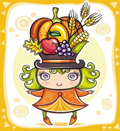 Happy cute girl wearing Cornucopia hat full of colorful fruits and vegetables, celebrating harvest festival in the forest. Stock Photo - Budget Royalty-Free & Subscription, Code: 400-05701475