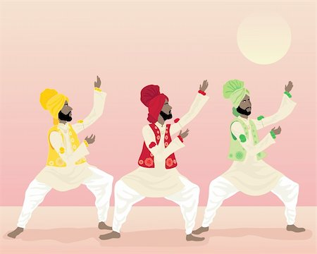 punjabi - an illustration of three male punjabi dancers in colorful traditional clothing dancing under a warm sun Stock Photo - Budget Royalty-Free & Subscription, Code: 400-05701566