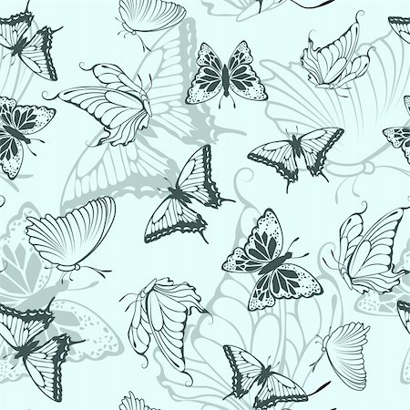 Seamless vector butterfly pattern. For easy making seamless pattern just drag all group into swatches bar, and use it for filling any contours. Stock Photo - Budget Royalty-Free & Subscription, Code: 400-05701665