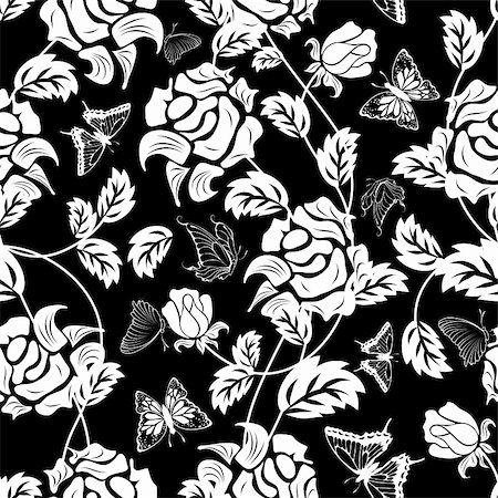 Seamless vector floral pattern. For easy making seamless pattern just drag all group into swatches bar, and use it for filling any contours. Stock Photo - Budget Royalty-Free & Subscription, Code: 400-05701676