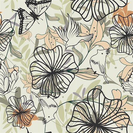 simsearch:400-04765926,k - Seamless vector floral pattern. For easy making seamless pattern just drag all group into swatches bar, and use it for filling any contours. Stock Photo - Budget Royalty-Free & Subscription, Code: 400-05701677
