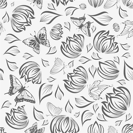 simsearch:400-04765926,k - Seamless vector floral pattern. For easy making seamless pattern just drag all group into swatches bar, and use it for filling any contours. Stock Photo - Budget Royalty-Free & Subscription, Code: 400-05701678
