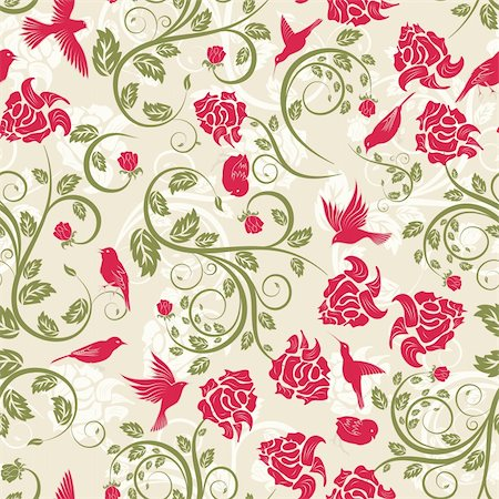 simsearch:400-04765926,k - Seamless vector floral pattern. For easy making seamless pattern just drag all group into swatches bar, and use it for filling any contours. Stock Photo - Budget Royalty-Free & Subscription, Code: 400-05701679