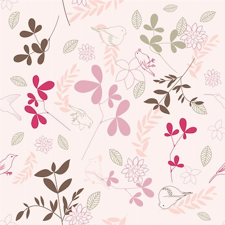 simsearch:400-04765926,k - Seamless vector floral pattern. For easy making seamless pattern just drag all group into swatches bar, and use it for filling any contours. Stock Photo - Budget Royalty-Free & Subscription, Code: 400-05701680