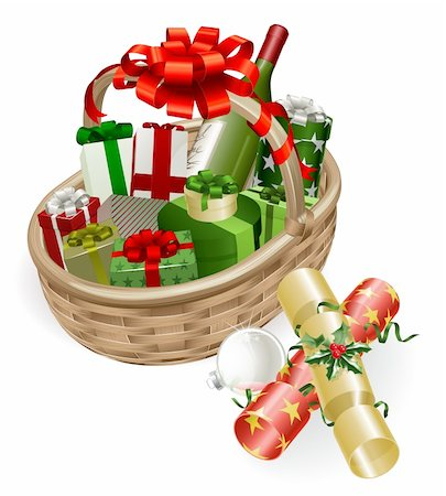 A Christmas basket with wine, gifts, crackers and ball bauble decoration Stock Photo - Budget Royalty-Free & Subscription, Code: 400-05701894