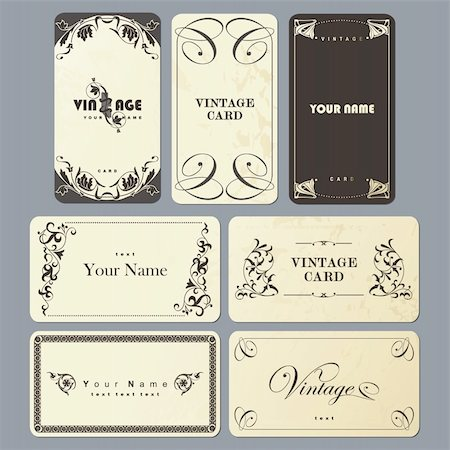 Vintage Business Card Collection Stock Photo - Budget Royalty-Free & Subscription, Code: 400-05702269