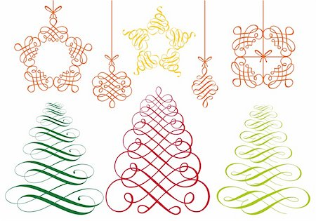 filigree tree - set of flourish christmas ornaments, vector design elements Stock Photo - Budget Royalty-Free & Subscription, Code: 400-05702590