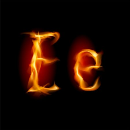 smoke magic abstract - Fiery font. Letter E. Illustration on black background Stock Photo - Budget Royalty-Free & Subscription, Code: 400-05702731