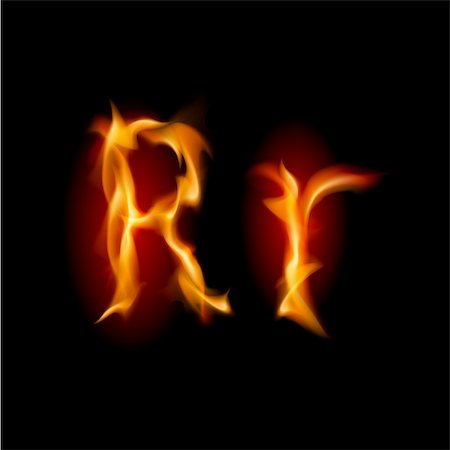 smoke magic abstract - Fiery font. Letter R. Illustration on black background Stock Photo - Budget Royalty-Free & Subscription, Code: 400-05702732