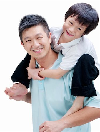 family fun day background - Father and son on white background Stock Photo - Budget Royalty-Free & Subscription, Code: 400-05703195