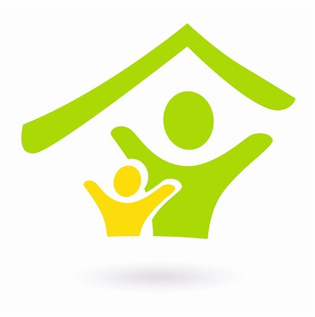 family abstract - Two people under roof icon. Vector Illustration Stock Photo - Budget Royalty-Free & Subscription, Code: 400-05703301