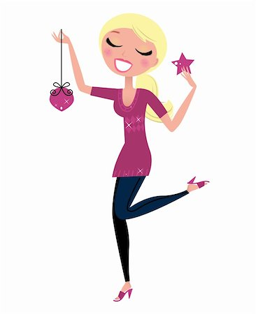 pretty pink star white background - Retro Girl with Christmas decoration. Vector Illustration. Stock Photo - Budget Royalty-Free & Subscription, Code: 400-05703303