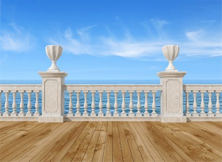 empty terrace overlooking the sea with concrete balustrade and wooden floor - rendering- the image on background is a my rendering composition Stock Photo - Budget Royalty-Free & Subscription, Code: 400-05714012