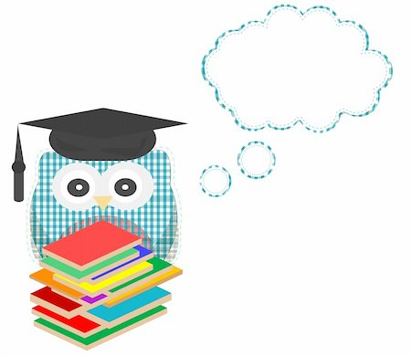 Owl teacher and books with speech bubble vector Stock Photo - Budget Royalty-Free & Subscription, Code: 400-05714419