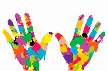 spot paint - Hands full of colored paint Stock Photo - Budget Royalty-Free & Subscription, Code: 400-05714614