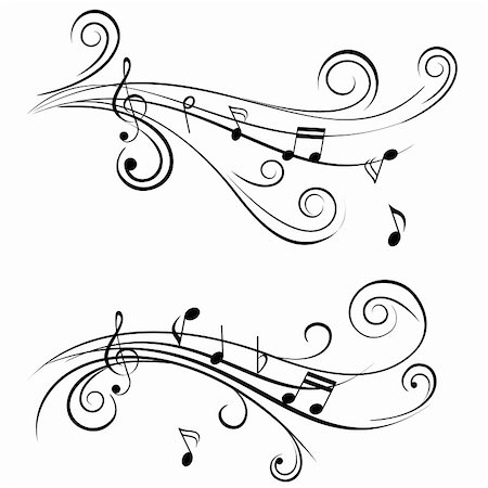 sheet music background - Ornamental music notes with swirls on white background Stock Photo - Budget Royalty-Free & Subscription, Code: 400-05714680