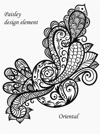 vector monochrome paisley design element Stock Photo - Budget Royalty-Free & Subscription, Code: 400-05715398