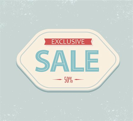 Old retro vintage sale label - blue and red Stock Photo - Budget Royalty-Free & Subscription, Code: 400-05715748