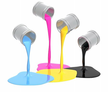pouring paint art - Conceptual image - a palette CMYK. Objects isolated over white Stock Photo - Budget Royalty-Free & Subscription, Code: 400-05715817
