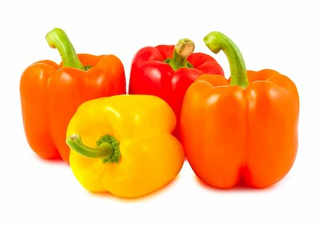 pimento - Yellow, red and orange peppers isolated on white background Stock Photo - Budget Royalty-Free & Subscription, Code: 400-05715895