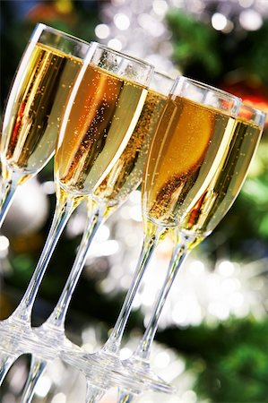 simsearch:400-05749231,k - Several champagne flutes on Christmas background Stock Photo - Budget Royalty-Free & Subscription, Code: 400-05715986