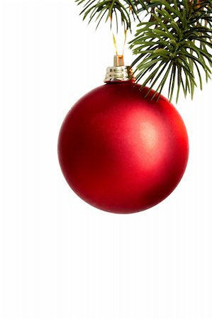simsearch:400-05749231,k - Red Christmas bauble on coniferous branch against white background Stock Photo - Budget Royalty-Free & Subscription, Code: 400-05715988
