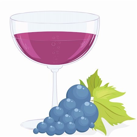 pzromashka (artist) - full glass of wine and a brush of dark grapes. Vector illustration Stock Photo - Budget Royalty-Free & Subscription, Code: 400-05716164