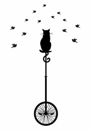 cat sitting on monocycle and watching birds, vector background Stock Photo - Budget Royalty-Free & Subscription, Code: 400-05716577