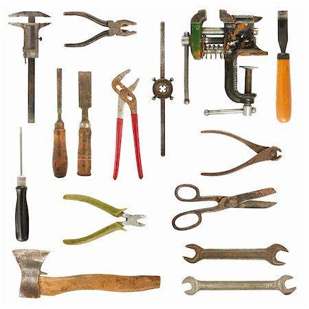 Old used tools collection isolated on white background Stock Photo - Budget Royalty-Free & Subscription, Code: 400-05716602