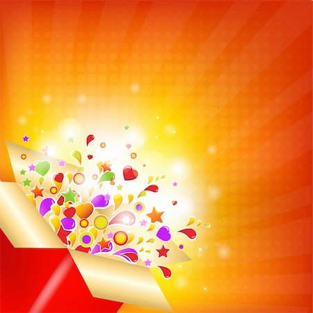 Colorful Gift Box With Sunburst, Vector Illustration Stock Photo - Budget Royalty-Free & Subscription, Code: 400-05716676