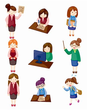face woman beautiful clipart - cartoon pretty office woman worker icon set Stock Photo - Budget Royalty-Free & Subscription, Code: 400-05716848