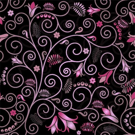 Black seamless floral pattern with pink flowers and curls (vector) Stock Photo - Budget Royalty-Free & Subscription, Code: 400-05717051