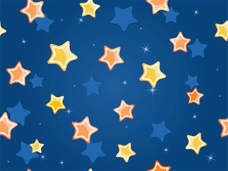 Cartoon stars at dark blue sky. Vector Pattern Stock Photo - Budget Royalty-Free & Subscription, Code: 400-05717247