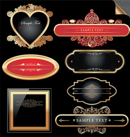 Ornate decorative golden vector frames Stock Photo - Budget Royalty-Free & Subscription, Code: 400-05717605