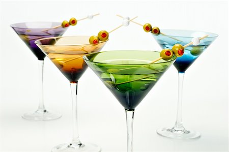 pimento - Four colorful martini glasses shot in the studio on white. Stock Photo - Budget Royalty-Free & Subscription, Code: 400-05717804