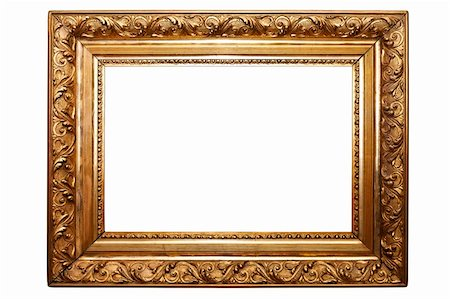 old painting frame, golden, isolated on white (No#2)(clipping paths included) Stock Photo - Budget Royalty-Free & Subscription, Code: 400-05718076