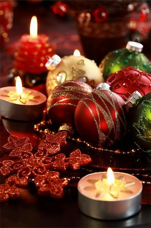 Beautiful Christmas ornaments as table decoration Stock Photo - Budget Royalty-Free & Subscription, Code: 400-05718584