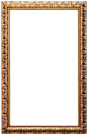 Picture frame, golden color (No#11) isolated on white (clipping paths included) Stock Photo - Budget Royalty-Free & Subscription, Code: 400-05718777
