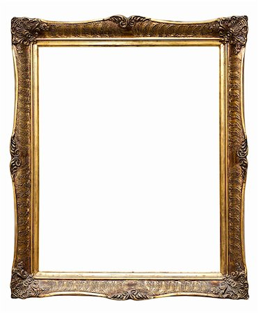 Old golden retro frame, isolated on white (No#8), isolated on white (clipping paths included) Stock Photo - Budget Royalty-Free & Subscription, Code: 400-05718780