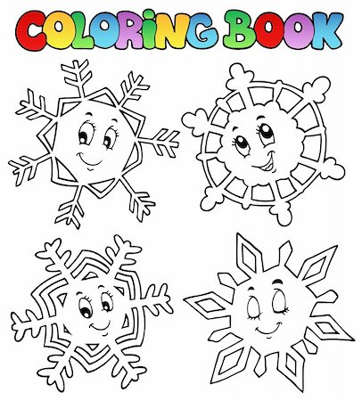 Coloring book cartoon snowflakes 1 - vector illustration. Stock Photo - Budget Royalty-Free & Subscription, Code: 400-05718975