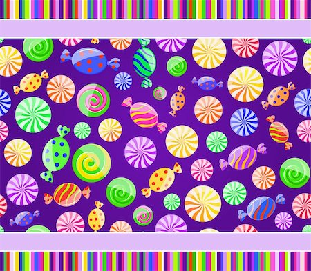 red circle lollipop - colorful candy seamless pattern on dark violet background with lines. Vector illustration Stock Photo - Budget Royalty-Free & Subscription, Code: 400-05719133