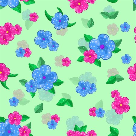 floral seamless pattern with forget-me-not and  leaves on green background Stock Photo - Budget Royalty-Free & Subscription, Code: 400-05719554