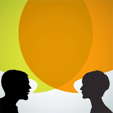 Abstract speakers silhouettes with big orange bubble (chat, dialogue, talk or discussion) Stock Photo - Budget Royalty-Free & Subscription, Code: 400-05719987