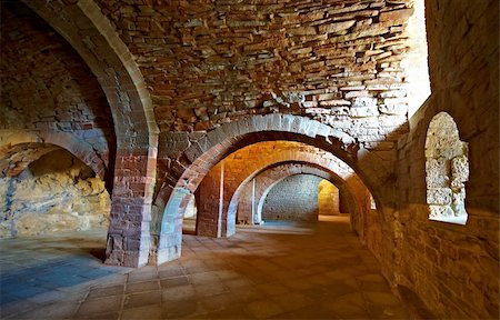 Vaulted Dungeon of Royal Monastery in Aragon, Spain Stock Photo - Budget Royalty-Free & Subscription, Code: 400-05710474