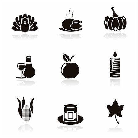 set of 9 black thanksgiving day icons Stock Photo - Budget Royalty-Free & Subscription, Code: 400-05710525